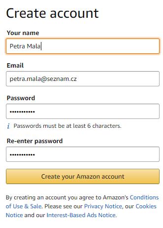 Údaje ve formulářích na Amazonu je vždy lepší vyplňovat bez diakritiky.