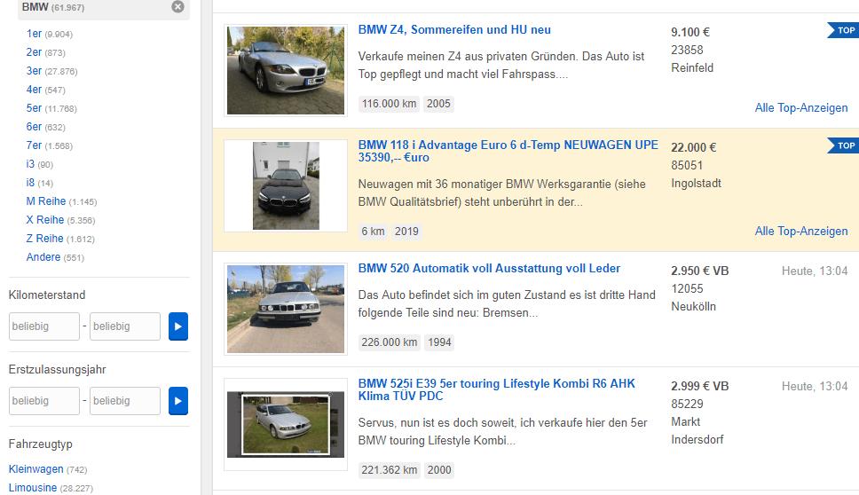 Výhodou je možnost zakoupit v bazaru eBay Deutschland auta, motocykly a další motorová vozidla.
