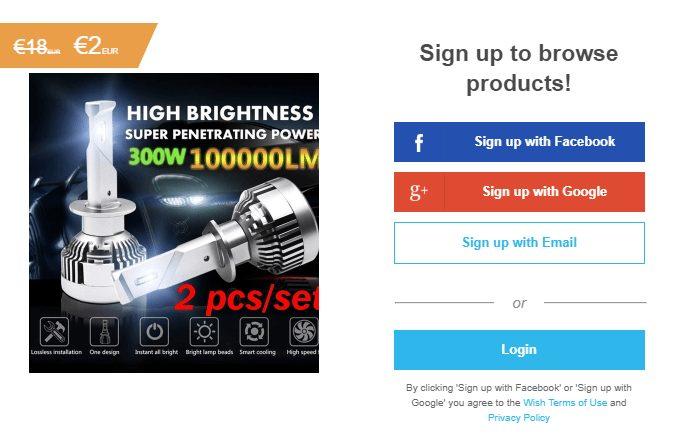 Registrovat se na Wish shop je možné prostřednictvím účtu na Facebooku, Google+ nebo přes e-mail.