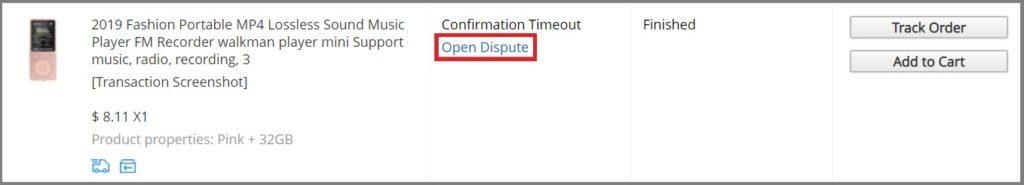 Open Dispute zahajuje konverzaci mezi kupujícím a prodejcem.