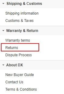 """Je třeba kliknout na kolonku """"Returns""""."""