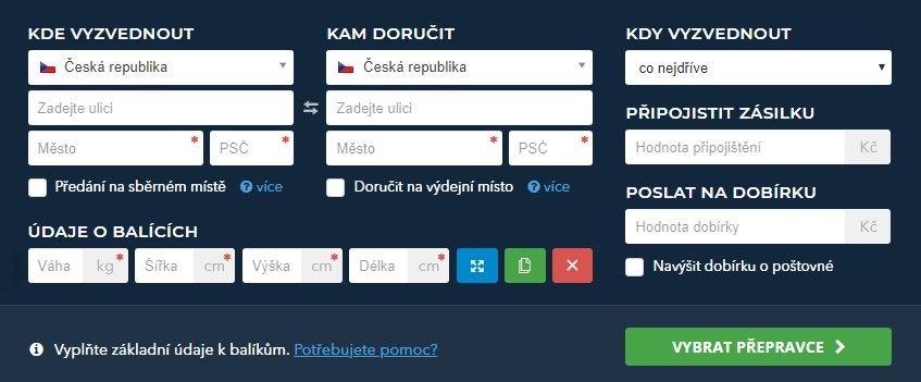 Na zaslat.cz je možné najít kalkulačku cen ostatních přepravců.