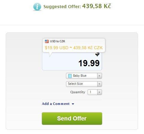 Navrhovaná cena se zobrazí jak v Kč, tak i v USD.