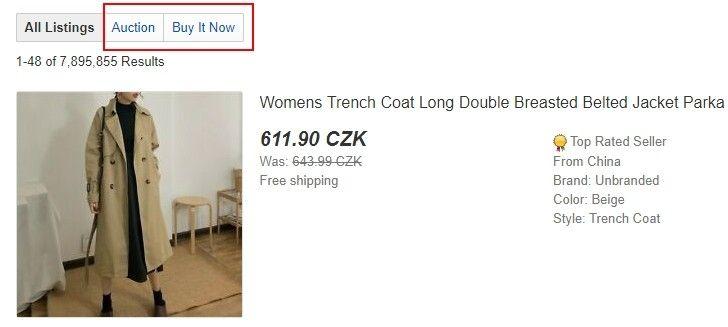 Důležitým filtrem je také možnost  Auction či Buy It Now.