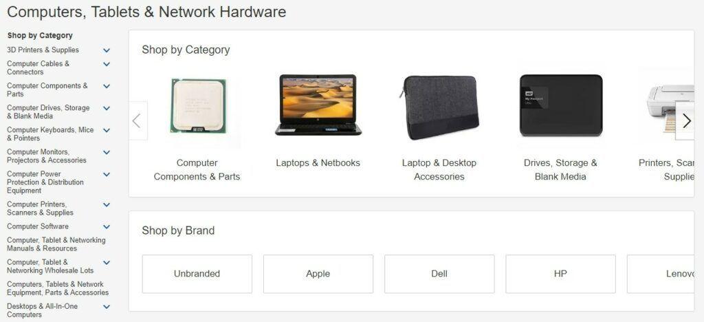 V kategorii Elektronika lze vyhledávat pomocí podkategorie či pomocí značky.