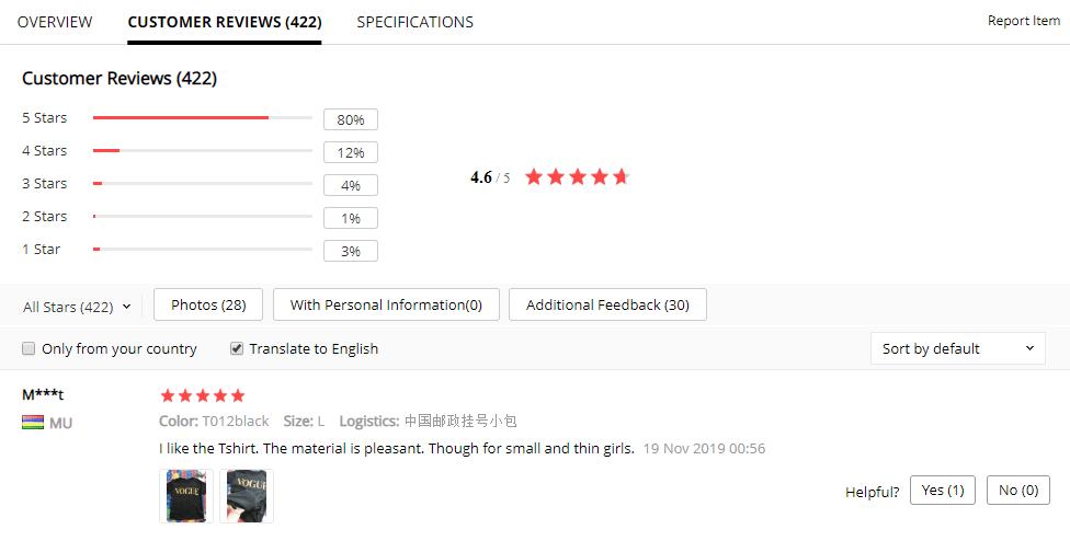 Hodnocení produktu lze najít v sekci Customer reviews.