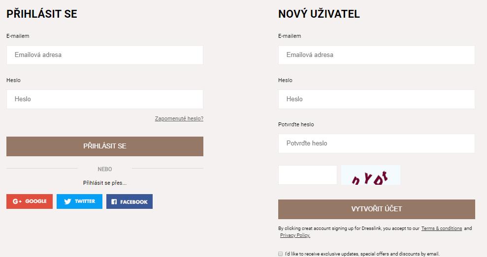 Registrovat se lze pomocí e-mailové adresy nebo účtu na vybraných sociálních sítích.