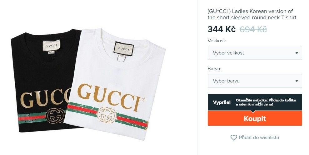 Fake značkové tričko Gucci na Wish.com je za 344 Kč.