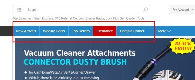 Pro levné nakupování na tomto e-shopu se vyplatí sledovat zejména záložky Weekly Deals, Top Sellers, Clearance a Bargain Corner.