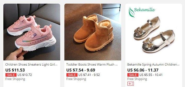 AliExpress disponuje i širokou nabídkou dětské obuvi.