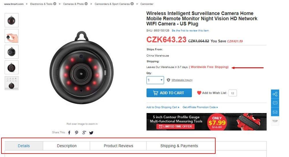 Jak je vidět na obrázku, cena produktů se zobrazuje v českých korunách.