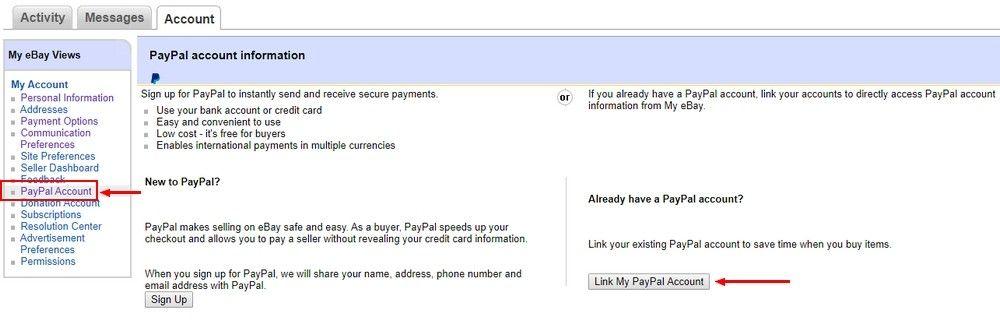 Pokud člověk účet na PayPal již má, stačí vložit odkaz na něj do svého profilu.