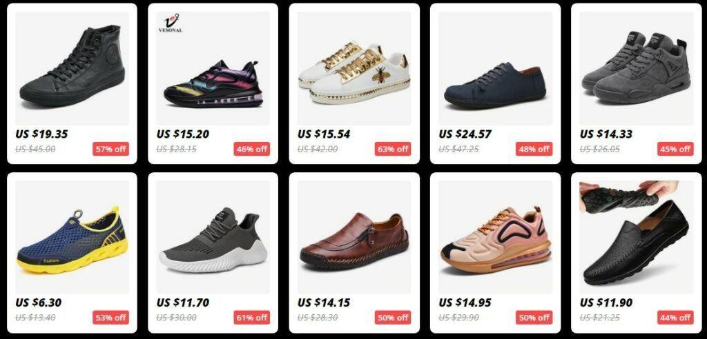 Průměrná cena bot v této sekci se pohybuje kolem $20.