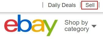 Dalším krokem k prodeji na eBay je kliknutí na ikonu Sell.