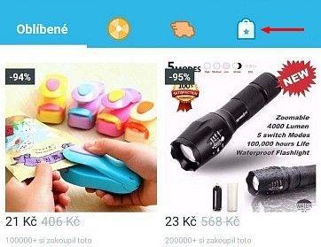 Po kliknutí na ikonu tašky lze vybírat zboží z konkrétních kategorií.