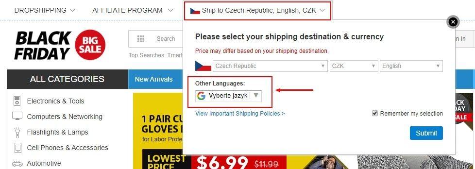 Pro přepnutí stránky do češtiny je na hlavní stránce třeba kliknout na nápis s českou vlajkou.