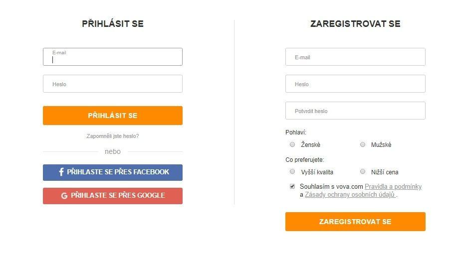 Registrace je možná skrz Facebook či Google účet anebo pomocí e-mailu.