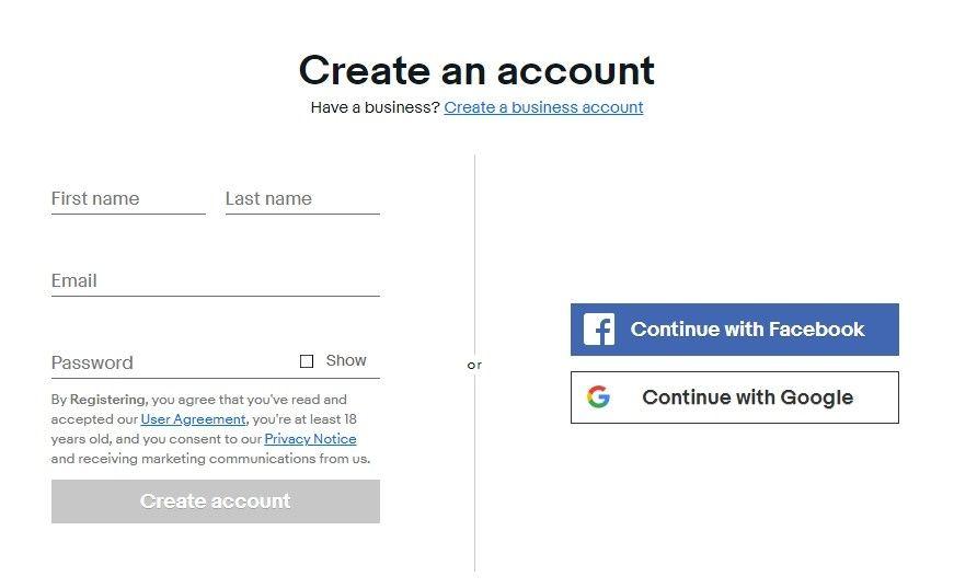 Pro registraci je nutné uvést základní identifikační údaje nebo se přihlásit pomocí Facebooku či Googlu.