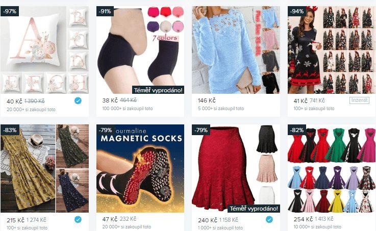 Nabídka e-shopu Wish zahrnuje zboží různých druhů za velmi nízké ceny.