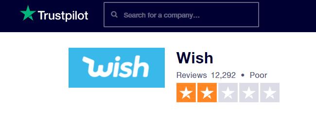 Recenze e-shopu Wish na recenzním portálu Trustpilot.com nejsou vůbec příznivé.