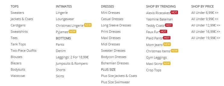 V každé kategorii lze nakupovat podle ceny a vybrat si tak to nejlevnější oblečení.