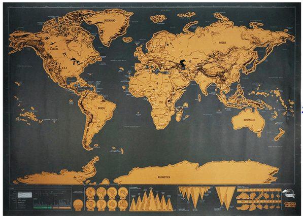 Nástěnná stírací mapa udělá radost každé ženě s duší dobrodruha.