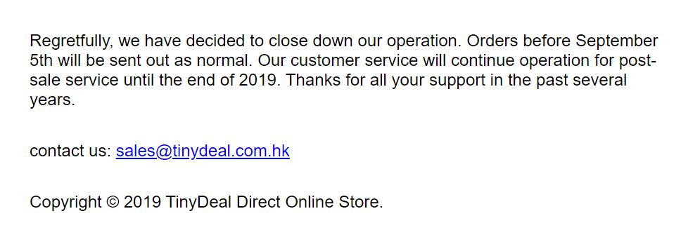 Stránky e-shopu TinyDeal již nefungují.