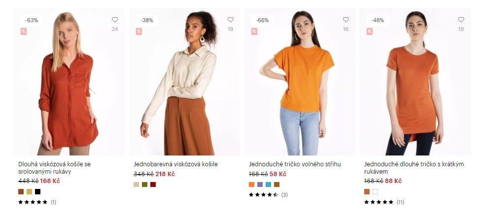 Do basic produktů patří jednoduchá trička, džíny nebo legíny.