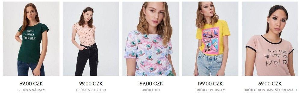 Barevná trička s potiskem lze na tomto e-shopu sehnat do 200 Kč.