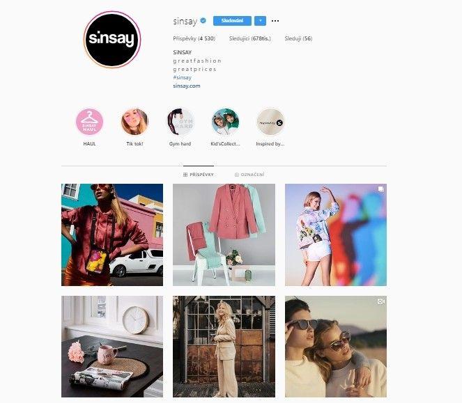 Sinsay je možné najít i na sociálních sítích.