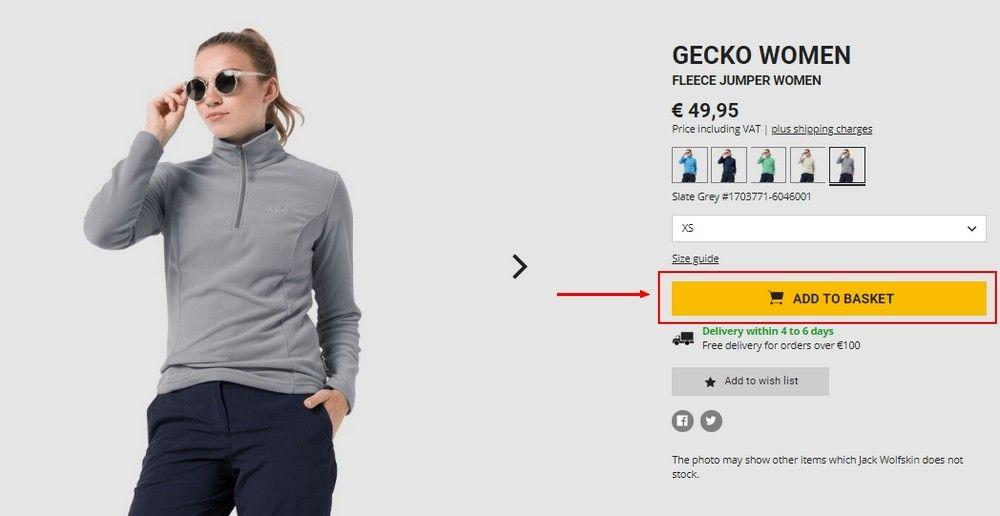 Po vybrání požadovaného zboží z nabídky se po kliknutí na produkt zobrazí jeho detaily