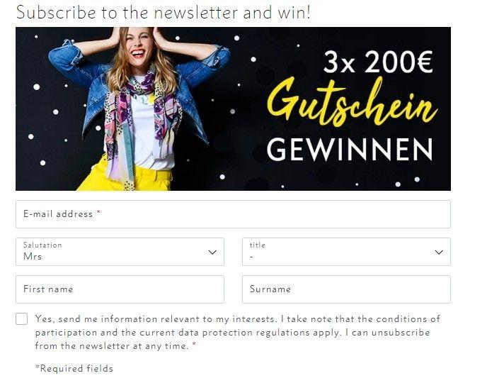 Za registraci a přihlášení se k odběru novinek má zákazník možnost získat voucher v hodnotě 200 €.