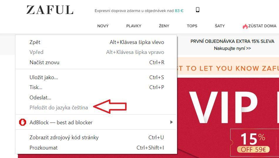 Překlad stránky do češtiny lze provést také kliknutím pravým tlačítkem myši kdekoliv na stránce a následným výběrem možnosti Přeložit do jazyka čeština.