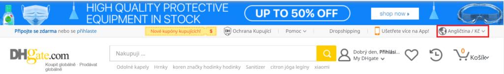 K přepnutí DHgate do češtiny slouží rozbalovací nabídka v pravém horním rohu stránky.