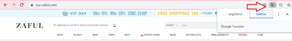 Pro přeložení jakékoliv stránky do češtiny stačí kliknout na ikonku Google překladače v adresním řádku.