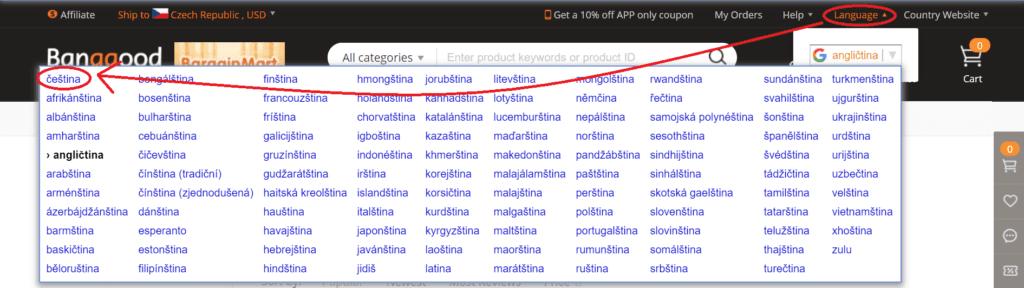 Nastavit na Banggood český jazyk je možné pomocí pár kliknutí.
