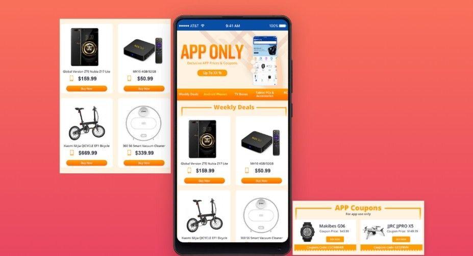 Mobilní aplikace Geekbuying nabízí slevové kupony a informace o chystaných akcích a výprodejích.