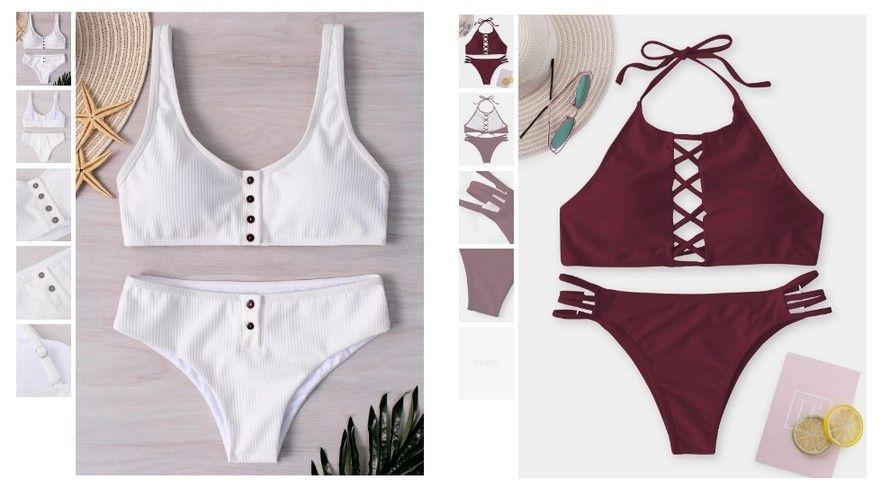 Nejprodávanější dvoudílné plavky na Yoins jsou jednobarevné bikini na zavazování či ramínka.