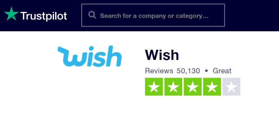 Na jednom z nejznámějších recenzních portálů Trustpilot.com si Wish získal velmi dobré hodnocení.