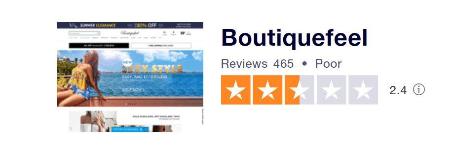 Recenze Boutiquefeel na portálu Trustpilot.com.