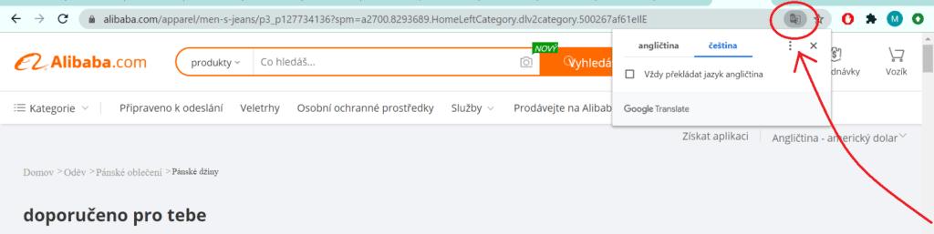 Google Chrome umožňuje nastavení jazyka kliknutím na ikonku překladače v adresním řádku.