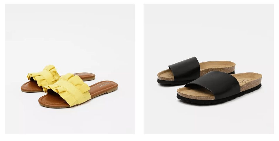 Ploché pantofle jsou perfektní pro rychlé nazouvání a vyzouvání.