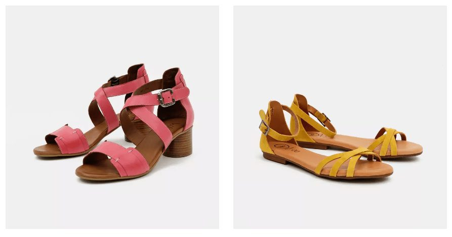 V nabídce jsou ploché páskové sandály, ale také sandály na podpatku.