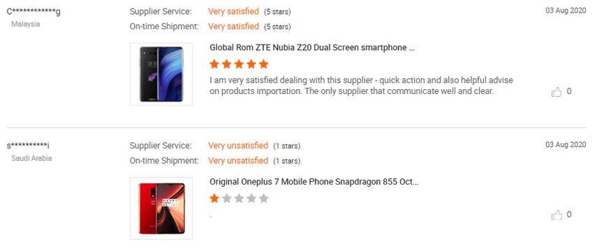 Recenze telefonů na Alibaba.com jsou značně individuální.