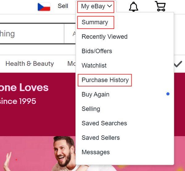 Průběh objednávky je možné sledovat můžete v my eBay, Purchase history nebo Summary.