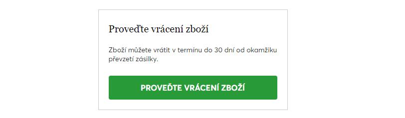 Na vrácení zboží na tomto e-shopu má zákazník 30 dní.