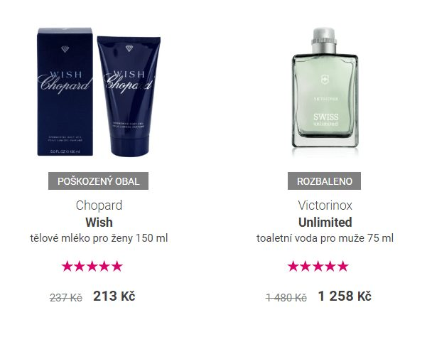 Notino také nabízí parfémy a další zboží se slevou z důvodu porušeného obalu či rozbalení.