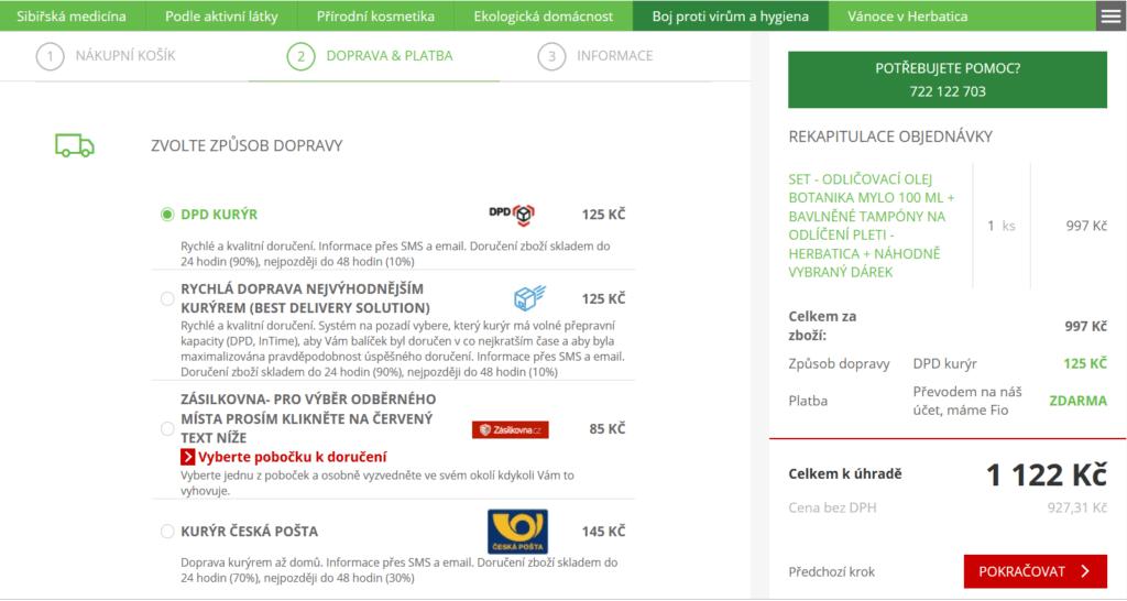 Objednávky z e-shopu Herbatica.cz jsou doručovány přepravci DPD, Česká pošta nebo Zásilkovna.
