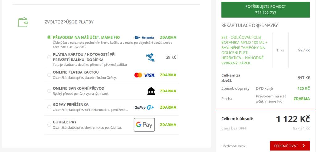 Objednávku z Herbatica.cz lze zaplatit kartou, bankovním převodem i na dobírku.